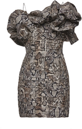 Magda Butrym Ruffled Ruched Printed Silk Mini Dress