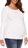 Asstd National Brand Long Sleeve Scoop Neck T-Shirt-Plus Maternity
