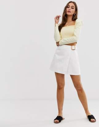 Asos Design DESIGN denim mini wrap skirt with belt-White