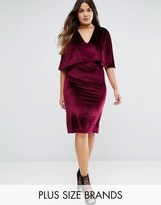 Club L Plus Cape Velvet Midi Dress