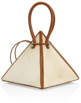 Nita Suri Lia Pyramid Leather-Trimmed Raffia Top Handle Bag