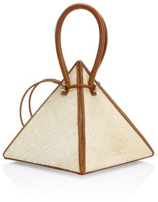Lia Pyramid Leather-Trimmed Raffia Top Handle Bag