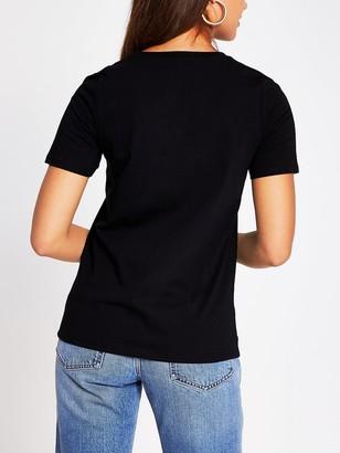 River Island Do What You Love T-shirt- Black