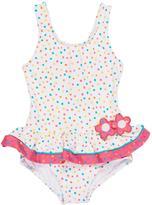 Florence Eiseman Confetti Dot One-Piece Ruffle Swimsuit, Size 6-24 Months