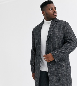 ASOS DESIGN Plus wool mix overcoat in gray check