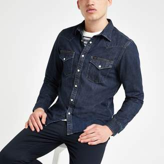 Lee Mens River Island dark Blue denim western regular fit shirt