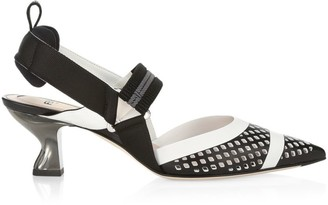 Fendi Colibri Perforated Slingback Pumps