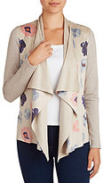 Peter Nygard Printed Faux Suede Cardigan
