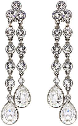 Ben Amun Double Teardrop Crystal Dangle Clip Earrings