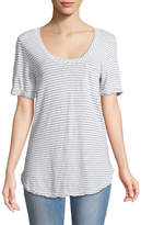 Allen Allen Roll-Sleeve Scoop-Neck Striped Tee