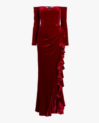 Badgley Mischka Off Shoulder Draped Ruffle Gown