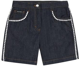 Dolce & Gabbana Crystal-embellished denim shorts