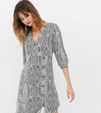 Stradivarius button wrap snake print dress