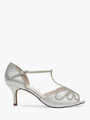 Rainbow Club Harlow Shimmer Satin T-Bar Court Shoes, Ivory