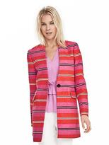 Banana Republic Stripe Collarless Coat