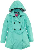Pink Platinum Big Girls Ruffled Trench Jacket Coat with Animal Accents Lining