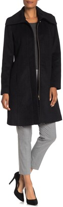 Cole Haan Wool Blend Shawl Collar Long Coat