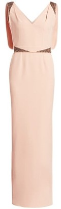 Safiyaa Antheia Embellished V-Neck Column Gown