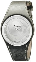 Salvatore Ferragamo Women's FID010015 Gancino Chic Stainless Steel Watch with Two-Tone Leather Band