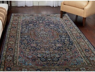 "Esperanza Canora Grey One-of-a-Kind Antique Josan Sarouk Hand-Knotted 4'4"" x 6'8"" Wool Blue Area Rug Canora Grey"