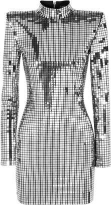 Balmain Embellished Crepe Mini Dress