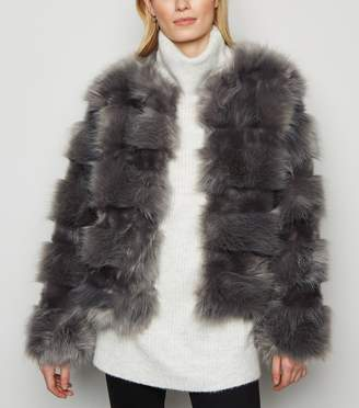 New Look Cameo Rose Pelted Faux Fur Coat