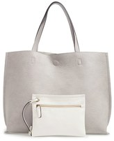 Street Level Reversible Faux Leather Tote & Wristlet - Grey