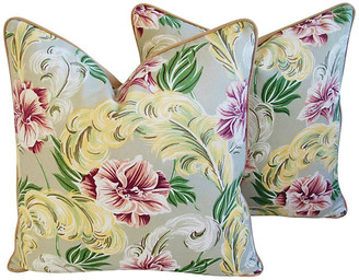 One Kings Lane Vintage Tropical Floral Barkcloth Pillows - Set of 2 - taupe/yellow/rose/ivory/tan/gold/green/multi