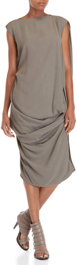 Rick Owens Grey Asymmetrical Draped Dress