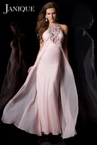 Janique - Long Empire Gown With Bejeweled Haltered Neckline And Ruched Bodice K6045