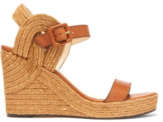 Jimmy Choo Delphi Espadrille-sole Leather Wedge Sandals - Tan