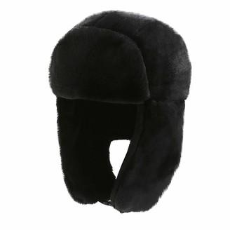 Amaone Winter Warm Hat for Women - Plush Faux Fur Trim Trapper Aviator Pilot Cap Earflap Hunting Hat Waterproof & Windproof Black