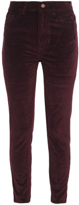 DL1961 Farrow Cropped Cotton-blend Stretch-velvet Skinny Pants