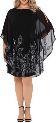 Xscape Evenings Sequin Chiffon Overlay Cocktail Dress