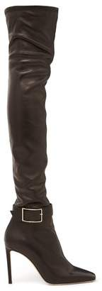 Jimmy Choo Takara 100 Buckled Leather Over The Knee Boots - Womens - Black