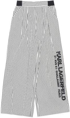 Karl Lagerfeld Paris Wide Leg Logo Stripe Pants