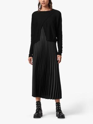 AllSaints Lori 2-in-1 Slip Dress, Black