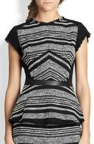 Rebecca Taylor Stripe Tweed Peplum