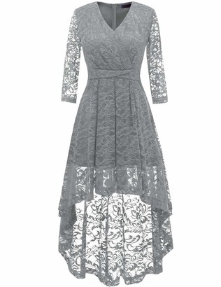DRESSTELLS 50s Floral Lace 3/4 Sleeve V Neck High-Low Lace Bridesmaid Formal Party Dress Navy 3XL
