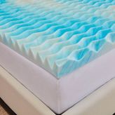 Authentic Comfort 2-Inch BlueWave Full Dorm Mattress Topper in Blue/White
