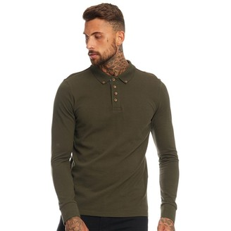 Brave Soul Mens Lincoln Long Sleeve Polo Dark Khaki