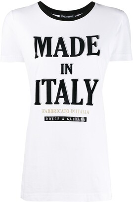 Dolce & Gabbana Made in Italy print contrast trim T-shirt