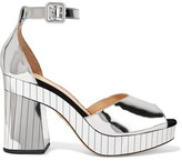 Charlotte Olympia Elie Mirrored-leather Platform Sandals - Silver