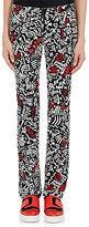Paco Rabanne Women's Graffiti-Print Stretch-Cotton Skinny-Leg Pants