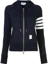 Thom Browne striped detail zipped hoodie - women - Cotton - 36