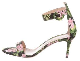 Gianvito Rossi Floral Ankle-Strap Sandals