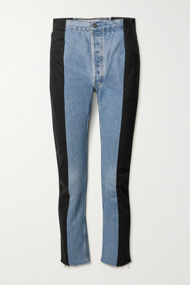E.L.V. Denim Net Sustain The Twin Frayed Two-tone High-rise Straight-leg Jeans - Light denim