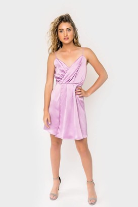 Gibson Natalie Satin Faux Wrap Dress