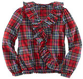 Ralph Lauren 7-16 Twill Plaid Smocked-Waist Shirt