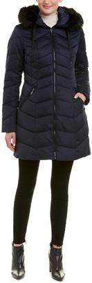 T Tahari Gwen Chevron Quilted Coat